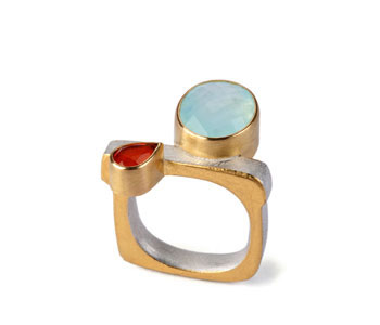 Ring in silver and 22ct gold set with Andean opal and fire opal