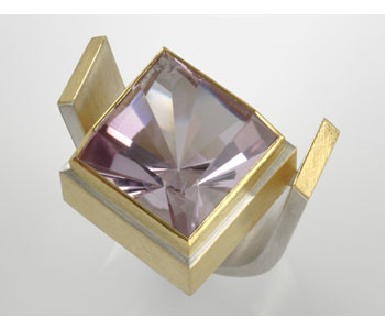 Ring in silver and 24ct gold ring with amethyst