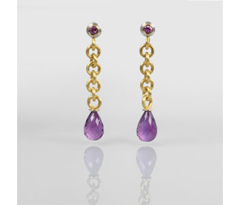 Earrings in silver and 24ct gold with pink sapphires and amethysts