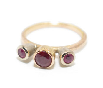 'Tulip' ring in 18ct white and rose gold set with rubies