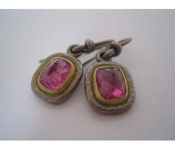 Earrings in 18ct white and yellow gold with pink tourmalines