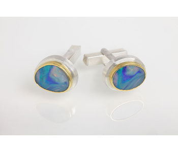 Cufflinks in silver and 24ct gold with Bolder opals