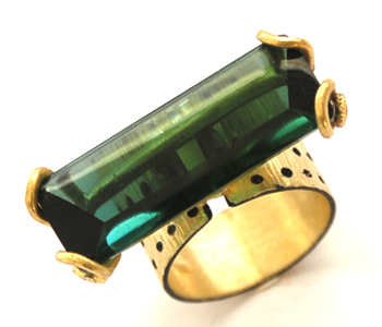 Ring in silver and 18ct gold with Mokume-gane set with a green tourmaline and brown diamonds