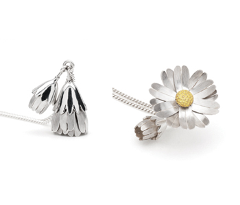 Kinetic Daisy locket in silver and 18ct gold, shown open and closed