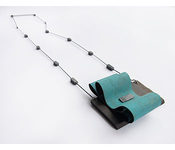 Flow – necklace in African Blackwood, silver, brass, steel, paper