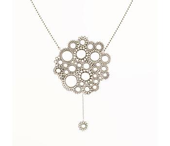 Floral necklace repoussé silver