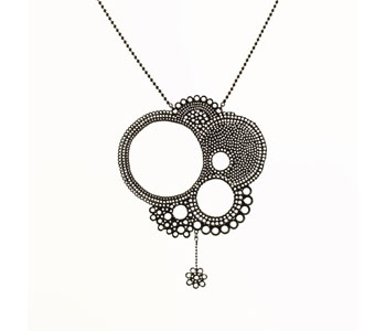 Floral necklace repoussé oxidised silver