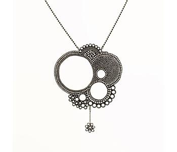 Floral necklace repoussé oxidised silver