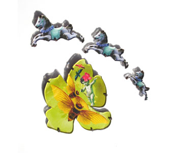 Horse and Flower brooches