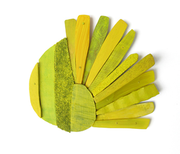 Lina Petersson _'Yellowly' brooch in mixed media, silver and 18ct gold
