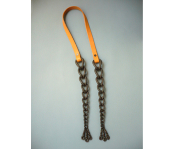 'Plaits' necklace in forged iron and leather