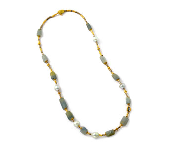 'Kari' necklace with rough sapphires, 18ct yellow and white gold beads, South Sea pearls and diamonds