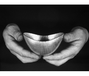 Oval Britannia silver bowl (in the hands of the maker)