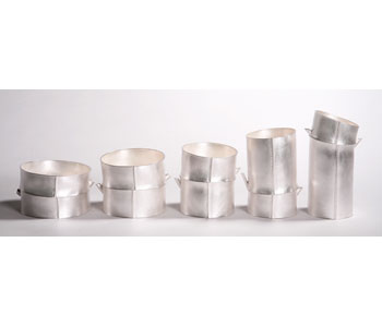 Bamboo vessels in silver