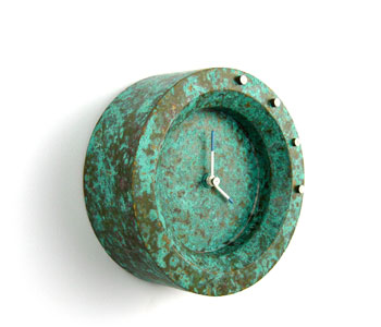 Clock from sheet brass with silver details, chemically patinated and waxed